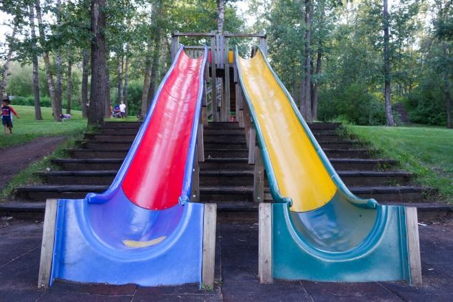 Long slides at Walterdale (Kinsmen) Park.