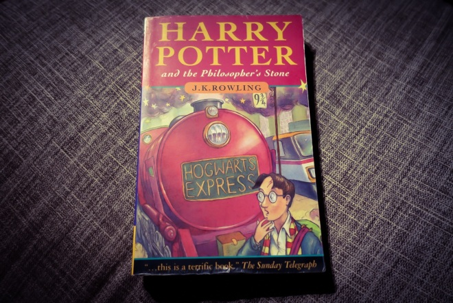 My first edition of Harry Potter and the Philosopher's Stone.